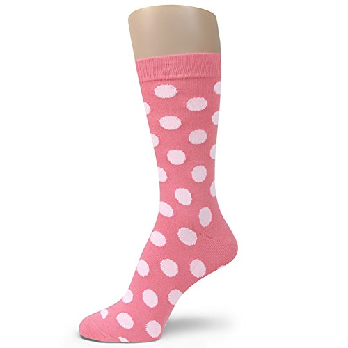 Spotlight Hosiery Men's Groomsmen Wedding Polka Dots Dress (Dots Pink Cotton Socks)