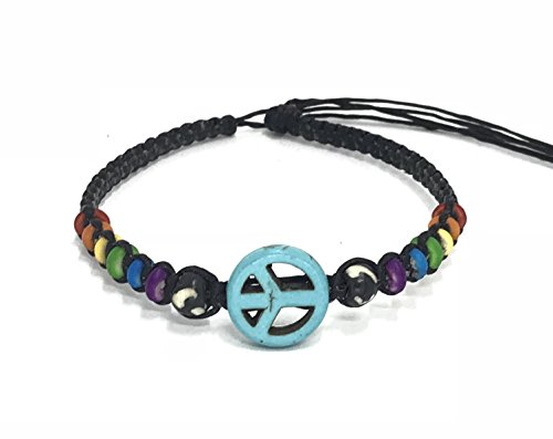 - Nove Jewelry Leather Peace Sign Hemp Bracelet - Handmade Bracelet - Adjustable Cord Surfer Bracelet (Raibbow Turquoise)