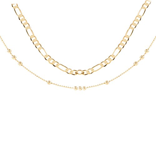 HYEUNA Dainty Beach Double Layered Anklet for Women 14K Gold Bead Figaro Foot Chain Jewelry