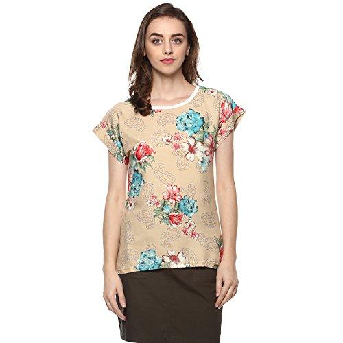 mayra Women #39;s Crepe Beige Color Short Sleeve Top