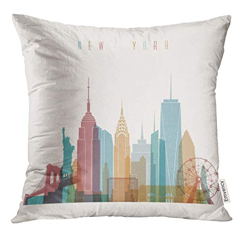 Emvency Throw Pillow Cover NYC Styled New York City Skyline Detailed Silhouette Trendy Bridge Decorative Pillow Case Home Decor Square 18x18 Inches Pillowcase