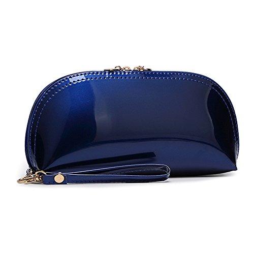 mujer de FavoMode asa mano marino con Charol Cartera azul de para 8aT8w4q