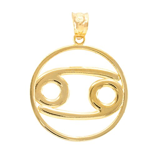 LABLINGZ 10K Polished Yellow Gold Cancer Zodiac Sign Round Pendant