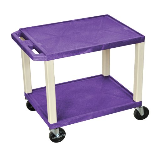 H.Wilson WT26P Tuffy AV Cart Purple 2 Shelves Putty Legs by H Wilson