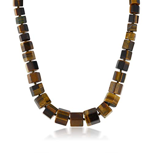 Gem Stone King Gorgeous 18 Inch Octagon Cut Tiger Eye Loose Stone Beads Necklace with Lobster Clasp
