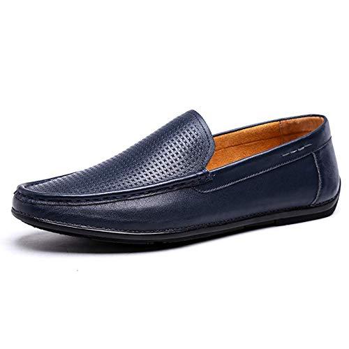 cómodos On 40 Hombres Simples Azul de Casual Slip Mocasines 41 Hombres para Zapatos para Tamaño y Cuero tamaño Redonda Color EU Azul HhGold Color Azul de Cabeza qpInX