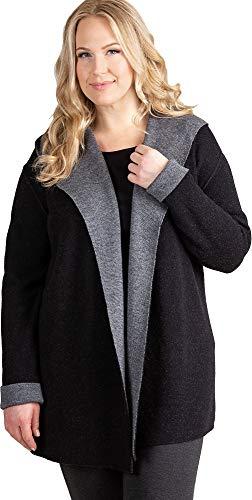 Overland Sheepskin Co Essential Reversible Hooded Alpaca Wool-Blend Cardigan Sweater - Plus (18-24) Black