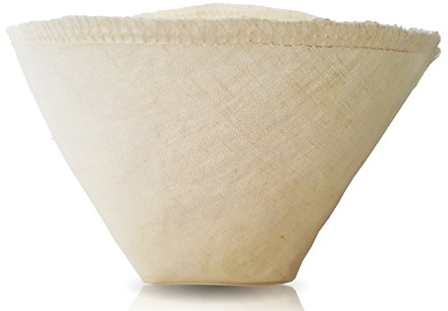 Hemp and Organic Cotton Cloth Coffee Filter by Pinyon Products - Reusable, Natural, Unbleached, Environmentally Friendly Cloth Cone Drip, Pour-Over Coffee Filter (Size 4; 8-12 (Environmentally Friendly Fabric)