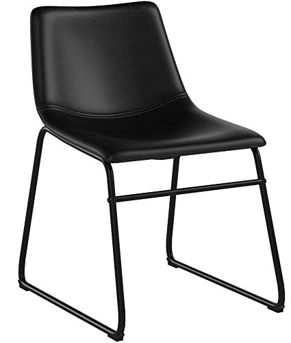 WE Furniture Black Faux Leather Dining Chairs, Set of 2 by WE Furniture (Image #6)