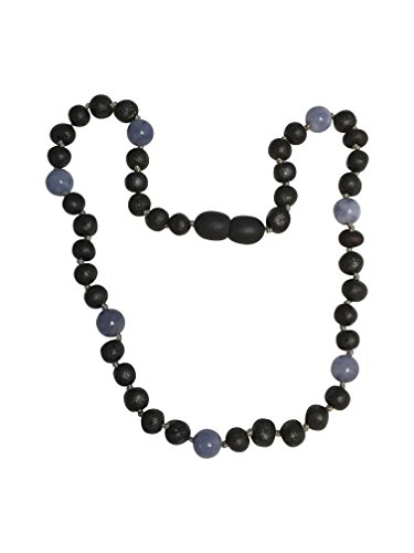 Hippie Peace Sign Necklace And Earrings (Baltic Amber and Blue Aquamarine Necklace By UMAI - Pain Relief Properties For Teething – Unisex - Individually Knotted Beads)