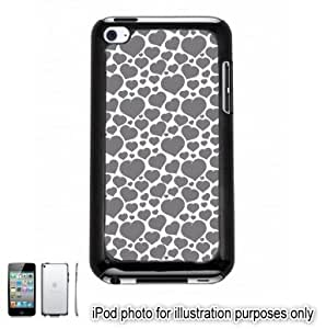 Gray Grey Mini Hearts Love Monogram Pattern Apple iPod 4 Touch Hard Case Cover Shell Black 4th Generation