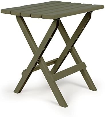 Camco 51884 Sage Large Adirondack Portable Outdoor Folding Side Table, Perfect for The Beach, Camping, Picnics, Cookouts More, Weatherproof Rust Resistant