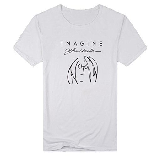vermers Clearance Deals Men's Casual Tops T-Shirt Summer Funny Imagine Print Short Sleeve Pullover Tee(2XL, White)