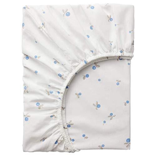 IKEA Rodhake Crib Fitted Sheet White Blueberry