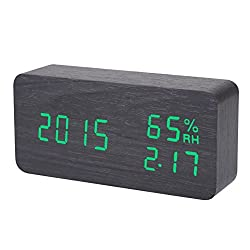 Awakingdemi Digital LED Wooden Clock Wood Alarm Clock Mini Displaying Time Temperature Thermometer Voice Humidity Wooden Clock Electronic Clock Table Clock Shelf Clock (Black with green led)