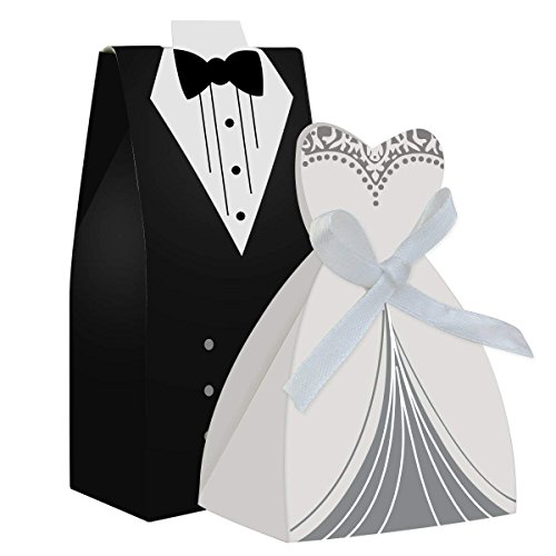 cnomg 100pcs Party Wedding Favor Dress & Tuxedo Bride and Wholesale Candy Favor Box,Creative Dress Candy Chocolate Gift Box Bonbonniere for Gift Wedding Party Birthday Bridal Shower Decoration (Boxes And Favor Groom Bride)