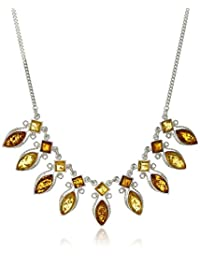 """Multicolor Amber Sterling Silver Marquise-Shaped Necklace, 16"""""""