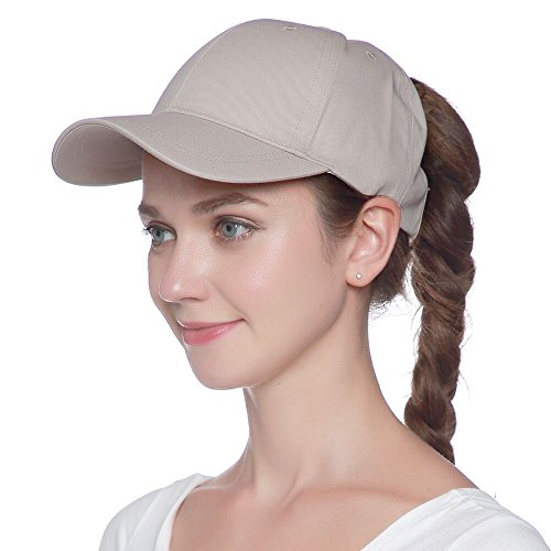 Womens Ponytail Baseball Hat Messy High Buns Ponycap Plain Unconstructed Cotton Dad Hat Adjustable Snapback