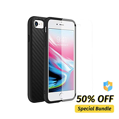 Texture Bundle - RhinoShield Full Impact Protection Case for [ iPhone 8/7 ], Military Grade Drop Protection, Slim, Scratch Resistant - Carbon Fiber Texture [Special Bundle with Screen Protector]