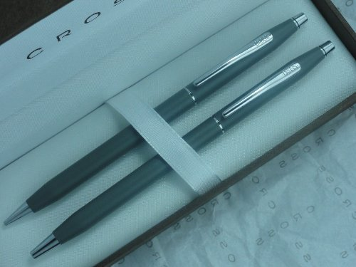 Cross Made in The USA Classic Century Satin Gray and Chrome Pen & Pencil Set