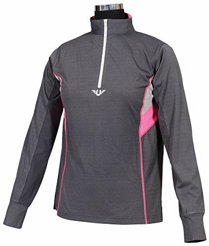 TuffRider Women's Neon Ventilated Mock Zip Long Sleeve Sport Shirt | Women Horse Riding Polo Shirt - Charcoal/NeonPink - Size XXX-Large (Polo Type Sport)