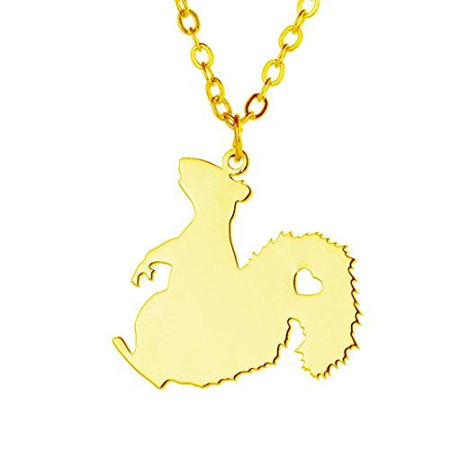 Squirrel Jewelry Items - Silver or gold Squirrel Necklace , Squirrel Jewelry , Woodland Animal Jewellery (gold)