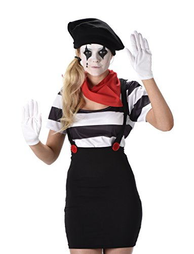 Cheap Halloween Costumes For Friends (Women's French Mime Artist Costume - Size Small)