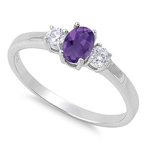 Birthstone Genuine Ring Amethyst (925 Sterling Silver Faceted Natural Genuine Purple Amethyst Oval Ring Size 11)