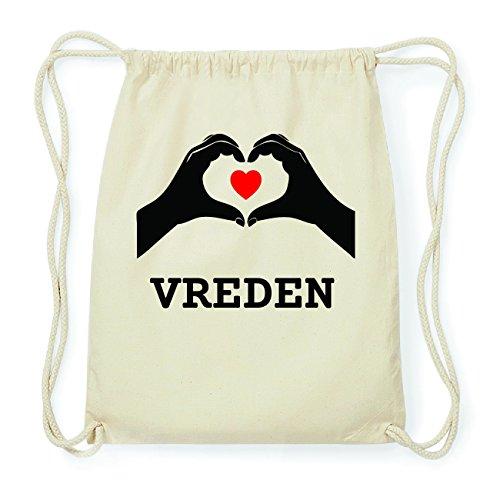 JOllify VREDEN Hipster Turnbeutel Tasche Rucksack aus Baumwolle - Farbe: natur Design: Hände Herz Qqyf29vceC