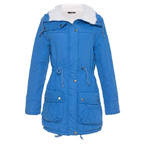 XINHEO Women's Solid Color Turn-Down Collar Slim Fit Over Sized Mid-Long Coat Lake Blue