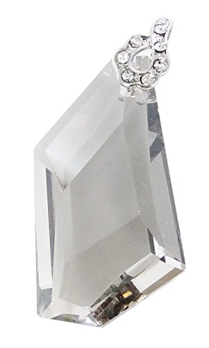 (Linpeng W/Zircon Bail for Necklace Making Faceted Irregular Pentagon Glass Crystal Pendant, 42mm, Silvery Gray,)