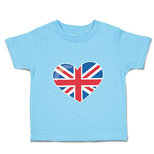 Custom Baby & Toddler T-Shirt London Doll British Flag Cotton Boy & Girl Clothes Funny Graphic Tee Aqua Blue Design Only 3T