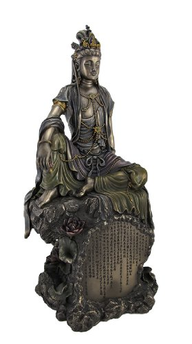 - Bronzed Finish Seated Kuan Yin Statue Hand Painted Accents