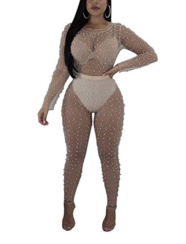 Choichic Women's Mesh Beaded 2 Pieces Outfits See Through Long Sleeve Top + Skinny Long Pants XX-Large Beige