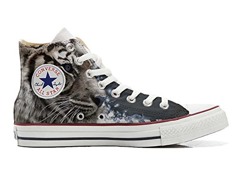 mys Converse Personalizzate All Star Sneaker Unisex (Scarpa Artigianale) Tiger With Blue Eyes