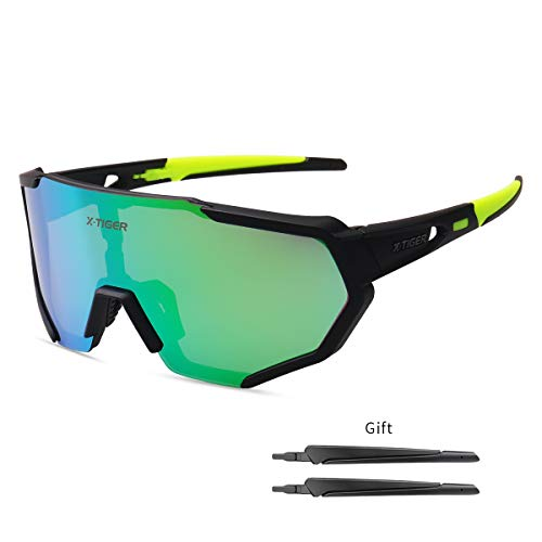 X-TIGER Polarized Sports Sunglasses with 3 Interchangeable Lenses,Mens Womens Cycling Glasses UV400 Protection,Running Fishing Driving Sunglasses(Black and Green)
