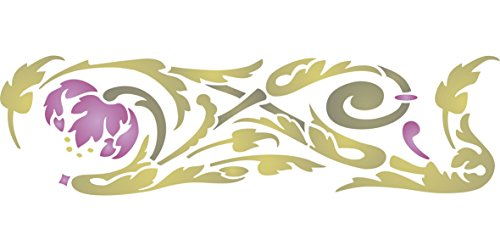 """(ART NOUVEAU DESIGN STENCIL - (size 16.5""""w x 4.5""""h) Reusable Wall Stencils for Painting - Best Quality NEW ART Border Ideas - Use on Walls, Floors, Fabrics, Glass, Wood, Terracotta, and More…)"""