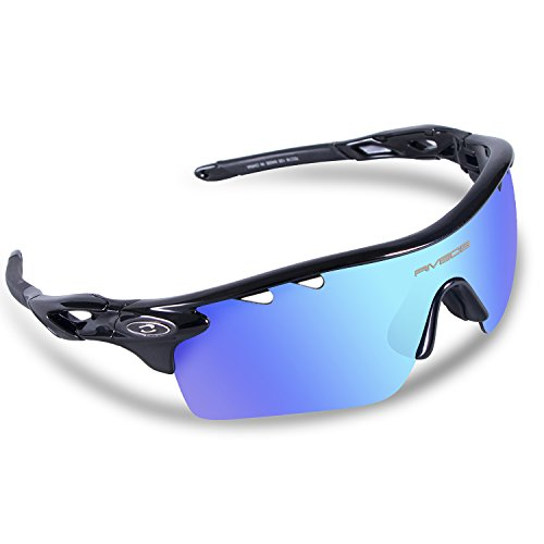 [RIVBOS Polarized Sports Sunglasses Sun Glasses with 5 Interchangeable Lenses for Men Women Baseball Cycling Runing (829-TR Black Ice Blue] (Prescription Novelty Contact Lenses)