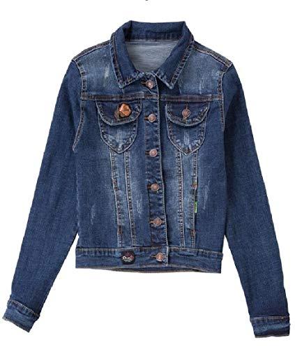Le Di Top Lavato Pulsante Blu Jean Donne Jacket Gira Scuro Sicurezza Giù Su U4w6RUZq