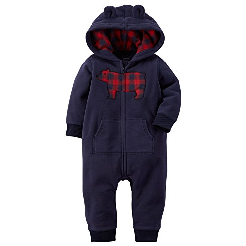 Carters Baby Boys Applique Hooded Fleece Jumpsuit Bear Plaid Blue NB (Hooded Romper Newborn compare prices)