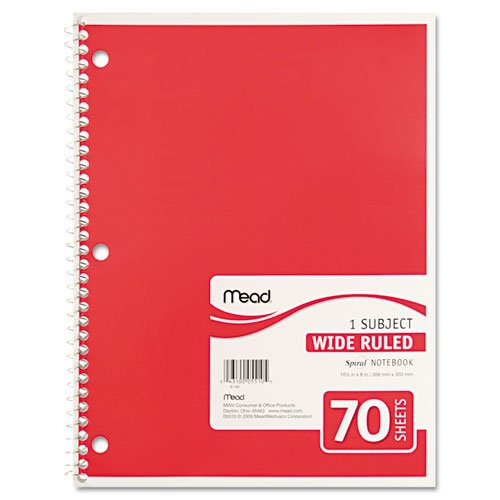 043100055105 - Mead Spiral 1-Subject Wide-Ruled Notebook, 1 Notebook, Color May Vary, Assorted Colors  (05510) carousel main 3