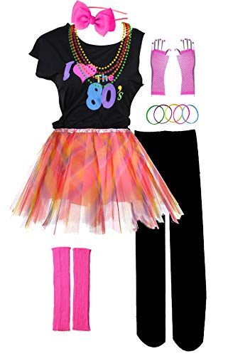 I Love 80s Pop Party Rock Star Child Girl's Costume Accessories Fancy Outfits (8-10, Pink Color)]()