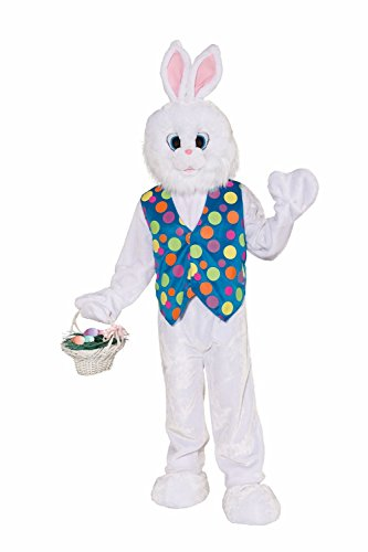 Bunny Mascot Costume - Forum Deluxe Plush Funny Bunny Mascot Costume, White, Standard (Up To Chest Size 42)