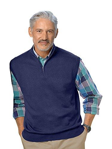 Paul Fredrick Men's Silk, Cotton \ Cashmere Zip Neck Vest Navy XL (Silk Sweater Vest)