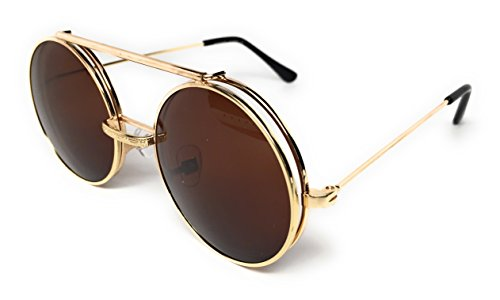 WebDeals - Round Flip Up Steampunk Flip-Up Metal Django Sunglasses (Gold, - Shades Sunglass Glasses For