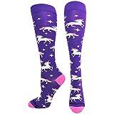 MadSportsStuff Neon Rainbow Unicorn Over The Calf Socks (Purple/Neon Pink, Large)