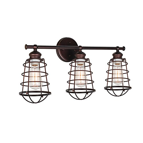 outlet Commercial Electric Rustic Iron 3-light Vanity with Antique Ivory Glass