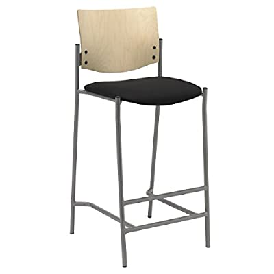Evolve Series-Barstool with Silver Frame and Wood Back