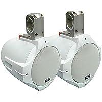 Pyle 8 300 Watt Two-Way White Wake Board Marine Speakers