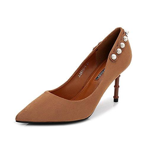 Haut Talon Escarpins Femme Chaussure Pointue Aiguille Stiletto Pumps Fermé Clouté Élégant Escarpin Brun 35 9fgGRCA1